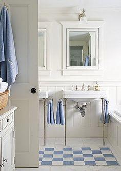 Wallpaper for Boys Bathroom - Cottage - bathroom - Shaun Jackson Design Bad Inspiration, Bathroom Inspiration, Bathroom Colors, Small Bathroom, Colorful Bathroom, Bathroom Ideas, White Bathroom, Boy Bathroom, White Shower