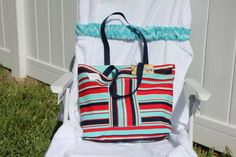 Beach Tote Bag Navy Turquoise Red and White