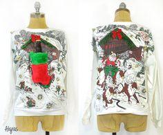 Ugly Christmas Sweater • Upcycled Vintage Christmas Sweatshirt • Beer Holster Stocking • Jingle Belling Christmas Sweater • Beer Holster ➳ Aligras Vintage on Etsy