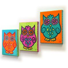 Whimsical Wall Art, 3 FUNKY OWLS, set 3 5x7 canvas paintings, owl themed art decor