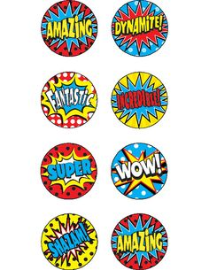 "Superhero Mini Stickers (TCR5642) 378 stickers per pack measuring approx. 1/2"" diameter. #classroom #decor #AILtyler"