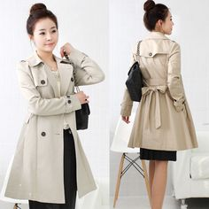 Featured with double breast and lapel collar, this long coat is so fashion and elegant. There with an belt on, can make bowknot as decoration. The coat is suitable for people who is 155cm to 170cm tal