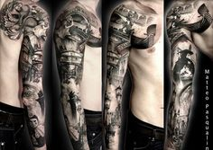 Chest Sleeve Tattoo http://www.cuded.com/2013/10/55-awesome-examples-of-full-sleeve-tattoo-ideas/