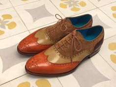 Dominique Saint Paul. Full brogue shoes hand coloured with patina.
