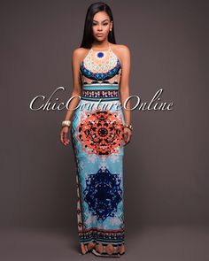 Chic Couture Online Maldives Mint Orange Multi Color Aztec Print Maxi Dress