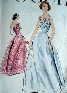 """Vogue 9019- 1950's ball gown/wedding dress- 36"""" bust"""