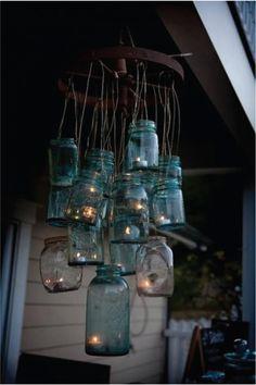 mason jar - lamp - diy - outside