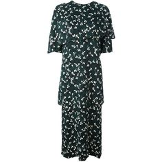 Marni Stream print midi dress (51 730 UAH) ❤ liked on Polyvore featuring dresses, green, mid length dresses, asymmetric midi dress, mid calf length dresses, calf length dresses and green dress