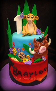 Lion King cake Baby 1st Birthday, 1st Birthday Parties, Birthday Cake, Cake Topper Tutorial, Cake Toppers, How To Stack Cakes, Lion King Baby Shower, Lion King Cakes, Edible Creations