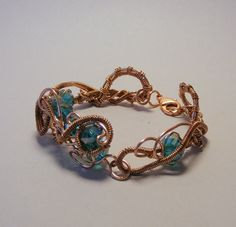 Copper Jewelry - Copper Wire Bracelet with teal crystals - Copper Bracelet - Wire Jewelry - Statement Piece By: Debra Nicholls Wire Art Jewelry