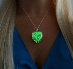 Green Glowing Heart - Glow in the Dark Jewelry Pendant Necklace - Gift for Her - Anniversary - READY TO SHIP by dressstar on Etsy https://www.etsy.com/listing/212444006/green-glowing-heart-glow-in-the-dark