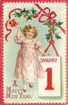 girl in pink holds up red flowers, left hand touches JANUARY 1 tablet lower right, holly above
