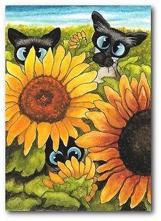 Siamese Cat Kitten Autumn Flowers Field of Sunflowers ArT LE Print ACEO