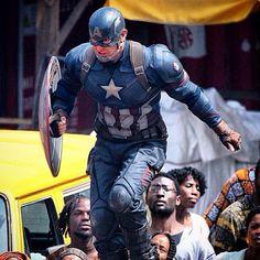 Chris Evans on the set of Captain America: Civil War, May 14, 2015