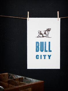 Bull City - Durham, North Carolina, NC - Old Try - Letterpress Print
