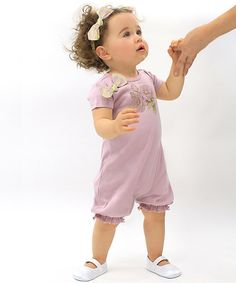 Look at this Truffles Ruffles Mauve Posies Bubble Romper & Headband - Infant on #zulily today!
