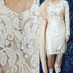 A beautiful lace dress with diamanté neck piece available to buy from www.jihaan.co.uk, wedding dress, salwar Kameez, Indian dress, pakistan fashion