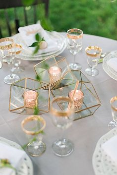 30 Glamorous Rose Gold Wedding Decor Ideas ❤️ rose gold wedding decor pink gold candlesticks in geometric vases kathryn ivy photography ❤️ See more: http://www.weddingforward.com/rose-gold-wedding-decor/ #wedding #bride #weddingdecorations #weddingdecor #rosegoldweddingdecor