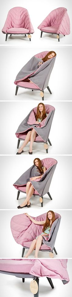"Cozy up with the Cole chair! Designed to put you in your own little cocoon of comfort, its built-in blanket ""wings"" will envelop you in a warm, soft, snuggly way. Perfect for anything from napping to watching a movie or reading a book! When it's too warm to cover up, just leave the sides down for a cool, casual look with contrasting colors."