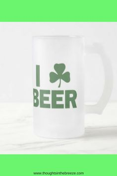 $27.90 So many styles of DIY St. Patrick's Day beer mugs and coffee cups.  Unique styles that are funny, cute, vintage, Disney, and quotes all St. Patrick's Day themed coffee mugs and Beer Steins.  Coffee Mug - Ceramic Coffee Mug - Tea - Quote Mug- Tea Lover - Gift Idea - Tea Cup - Tea Time – St. Patrick's Day- beer stein. #affiliate, #thoughtsinthebreeze i_shamrock_beer_frosted_glass_beer_mug