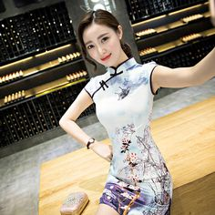 88a22e8763 Ambysun Chinese Traditional Dress Summer Style Fashion Vintage Cheongsam  Qipao Elegant Short Printed Party Dress Women