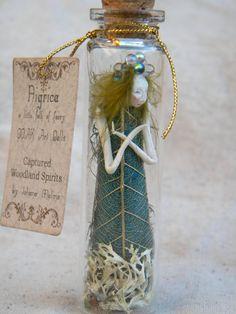 Captured Woodland Spirit Green Druid by littlefolkoffaery - Johana Molina Spirit Tattoo, Broken Spirit, Altered Bottles, Fairy Doors, Clay Dolls, Fairy Dust, Spirit Science, Bottles And Jars, Clay Art