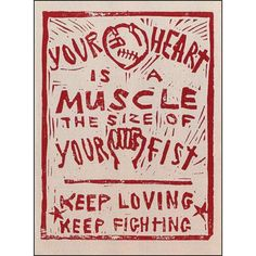Your Heart is a Muscle the Size of Your Fist. Dalia Sapon-Shevin crafted this woodcut during the Battle of Seattle World Trade Organization protests in 1999