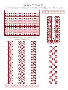 Semne Cusute: model de ie din OLTENIA, Olt - Piatra Olt Cross Stitch Borders, Cross Stitch Patterns, Embroidery Motifs, Embroidery Designs, Beading Patterns, Knitting Patterns, Embroidery Techniques, Couture, Needlework