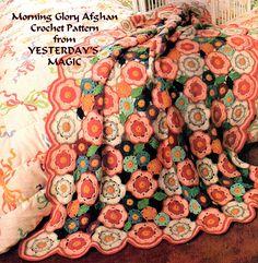 Afghan Patterns | Vintage 1970's Crochet Pattern pdf.Morning Glory Flowers & Leaves ...