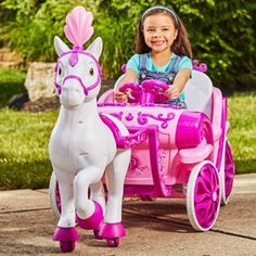 Disney Princess Royal Horse and Carriage Girls Ride. Disney Princess Royal Horse and Carriage Girls Ride-On Toy by Huffy, YellowWhite Ride on