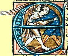 Jacob Wrestles with the Angel, 12th c. illum MS