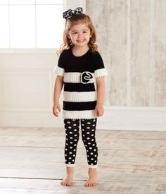 This darling 2 piece set from Mud Pie's Diva baby collection includes a black and white knit tunic with oversized flower and loop details and coordinating fuzzy dot leggings. Pair with matching hair accessories (sold separately) from this stylish collecti Baby Hair Bows, Baby Tutu, Tunic Leggings, Sweaters And Leggings, Playing Dress Up, Pretty Outfits, Kids Outfits, Short Sleeve Dresses, Clothes For Women