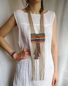Stunning woven tribal necklace, nomad style, with large sterling silver engraved bead on colorful jute and hemp cord. Colors: ocean and sky blue, rusty red,. Colar Tribal, Tribal Necklace, Tribal Jewelry, Bohemian Jewelry, Hemp Jewelry, Jewelry Bracelets, Gold Jewellery, Jewellery Shops, Silver Jewelry