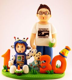 Sharing Dad Son Robot Theme First - 30th Birthday Cake Topper
