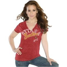 Touch by Alyssa Milano Ottawa Senators Ladies Touch Kickstart V-Neck Burnout T-Shirt - Red
