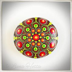 This is natural sea stone Mandala, made with love and joy. It is here for you to fall in love with it and take it home or give as present to a loved person. It is approx. 5.5 cm. diameter and it is sealed with matt varnish.  It is suitable for indoors use. Please handle with care and do