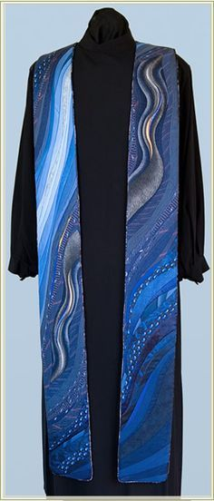 Blue Liturgical Stole - Made with 100% all silk neckties gathered from the congregation! What a FANTASTIC idea!!! (Find lots more at http://janetknitsandstitches.blogspot.com)