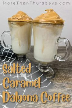 Jump on the dalgona coffee trend with this delicious salted caramel variation! It's so easy to make, and a delicious treat with a kick of coffee! Espresso Recipes, Coffee Recipes, Top Recipes, Dessert Recipes, Desserts, Yummy Treats, Yummy Food, Sweet Treats, Cappuccino Recipe