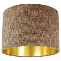 Brown Harris Tweed Lampshade Choice Of Metallic Lining - living room