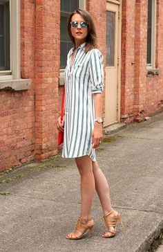 Outfits With Striped Dresses Stitch Fix spring summer outfits, style, clothing, fashion, striped dress Mode Outfits, Dress Outfits, Casual Dresses, Fashion Dresses, Casual Attire, Casual Heels, Chic Outfits, Shirtdress Outfit, Shirt Outfit