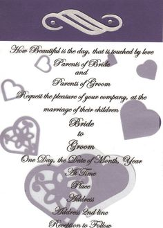 PURPLE AND SILVER WEDDING INVITE SAMPLE