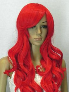 Red long curly wig.  synthetic highlighted wig high by Wigglywigs