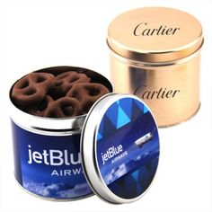 You can make sure that your customers retain your contact information even after the event ends with these custom printed round tin filled with chocolate covered pretzels. You can show up at the next promotional event with these chocolate covered custo How To Better Yourself, Treat Yourself, Chocolate Covered Pretzels, Promotional Events, Delicious Chocolate, Tis The Season, Dog Bowls, Treats, Campaign