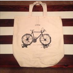 J. CREW Canvas Tote Bag, w/ adorable Bicycle SALE PRICEJ. CREW Canvas Tote Bag, w/ adorable Bicycle . Perfect for school, gym, groceries, library, trips, biking, etc. New, never used. ️️ Trade (30) J. CREW Bags Totes