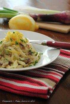 Tagliolini senza uova, con cipollotti, limone e pecorino