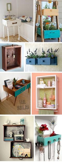You can create new and simple furniture from those old drawers or drawer . - You can create new and simple furniture from those old drawers or drawers that you are about to thr - Refurbished Furniture, Repurposed Furniture, Furniture Makeover, Diy Furniture Upcycle, Furniture Projects, Diy Projects, Furniture Stores, House Furniture, Furniture Plans