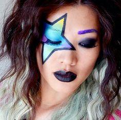 Glamrock make up Rock Star Makeup, Punk Rock Makeup, Rock Star Hair, Rock Costume, Star Costume, 80s Rocker Costume, Kiss Costume, Costume Makeup, Rock Tattoo