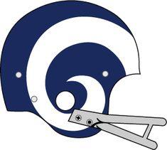 Los Angeles Rams Helmet Logo (1965) - Dark blue helmet, grey facemask with white ram horns