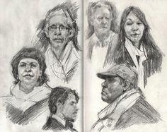 Some people I drew in Paris. Scarves are definitely all the rage there. Sketchbook Drawings, Drawing Sketches, Face Drawings, Life Sketch, Scribble Art, Moleskine, Eye Painting, Gouache, Portrait Sketches