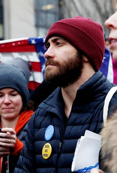 "thelastofthewine: ""delevingned: ""Jake Gyllenhaal at the Women's March in Washington, D.C. "" """